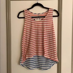 High Low red white and blue tank